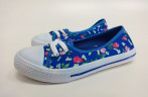 Blaue Sneaker Schuhe mit Blumendruck