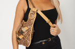 Ladies Cross Body Bag With London Metal Logo and Leopard Print