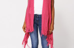 Pink Sleeveless Loose Knit Open Cardigans for Women