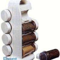 WHITE ROTATING SPICE RACK WITH 8 PIECES