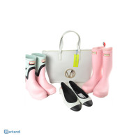 LOT, MIX 27 WOMEN, TOP BRANDS BAGS AND WATER BOOTS, HUNTER.