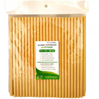 Ecological paper straws - 100 pieces 8x210 mm (100% biodegradable)