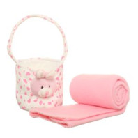 Plush Basket with a Blanket - Pink