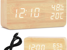 WOODEN CLOCK ELECTRONIC ALARM CLOCK LED THERMOMETER