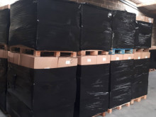 Bazaar batch truck sorted by families of new and packaged products