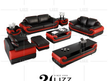 Home Furniture Leisure Sectional Leather Sofa with Coffee Table