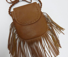 Brown shoulder bags with fringes