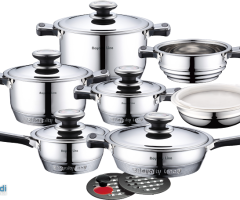 Royalty Line RL-16T - 16 pieces inox cookware set with 12 step bottom