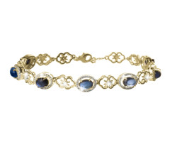 Silver Gold Plate Bracelet With Created Sapphire & Diamond (Clearance