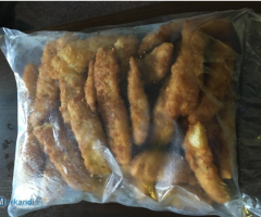 Frozen cod in breadcrumbs available in bulk - food stock
