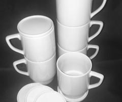 Mugs white stackable and cup lid white
