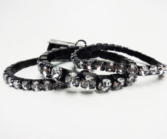 Black crystal 3-piece bracelets