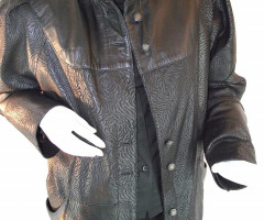 Lamb nappa leather jacket Long, printed with beautiful print