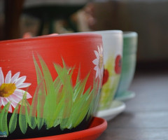 Romanian traditional ceramic flower pots, handmade