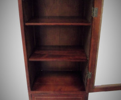 CABINET IN WOOD TWO SHELVES - TRAY - GLASS DOOR HANDLE