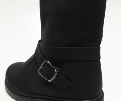 Black shoes kids boots with buckle