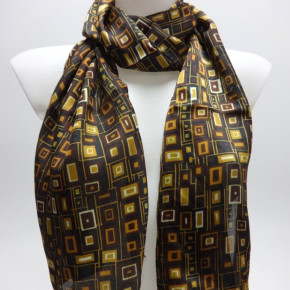 Yellow satin-look scarves with graphic print