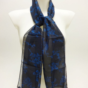Blue scarves with blue flower print