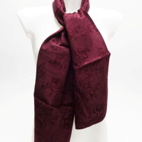 Burgundy scarves with woven roses pattern