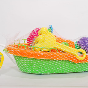 Plastic beach boat with accessories sand toys in net