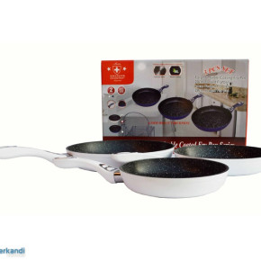3 Piece Set pans ceramic coated in white; Thickness: 4.5mm