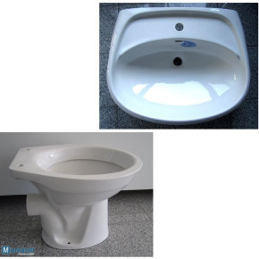 Special brands BATHROOM SET washbasin 55 / 65cm + WC in White