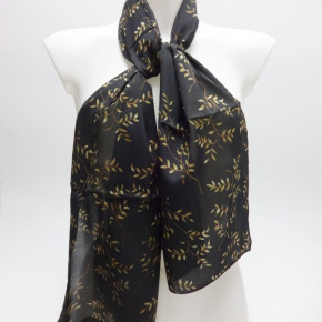Black satin-look scarves with twig print