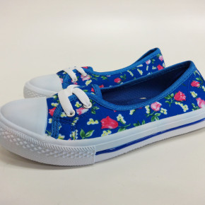 Blue sneaker Shoes with flower print