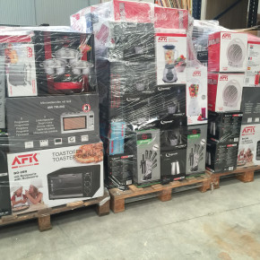 pallets of small appliances