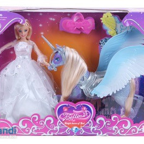 Plastic doll with winged unicorn and comb