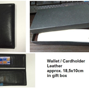 Wallet / cardholder in gift box, leather, black
