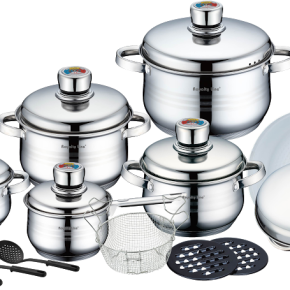 ROYALTY LINE 18 Pcs Cookware Set with Cer. Coat. Frypan  RL-1802C