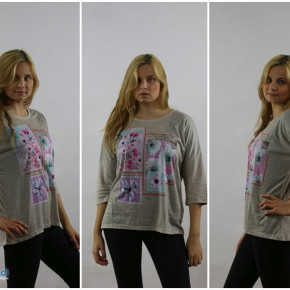Blouse for women with printed flowers