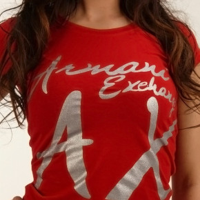 ARMANI EXCHANGE T-SHIRT WOMEN RED
