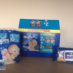 Magics diapers + 2 packs wet wipes