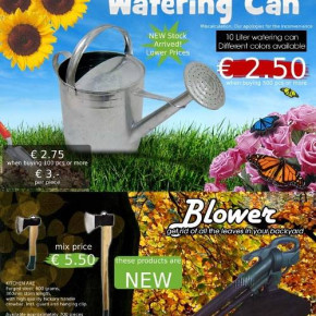 Garden products' stock, watering cans mostly