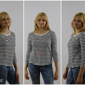 Blouse for women with stripes and printed