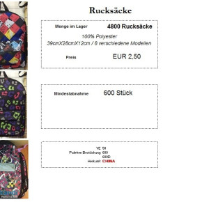 Backpack, eight styles, approx. 39x28x12cm
