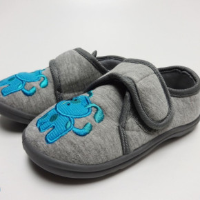Grey jersey kids slippers home shoes with blue embroidery