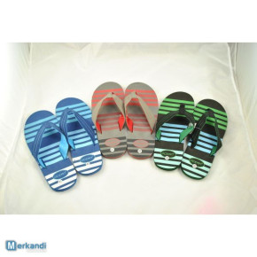 21227 MENS FLIP FLOPS WITH DUAL COLOUR FABRIC STRAP 41 TO 46