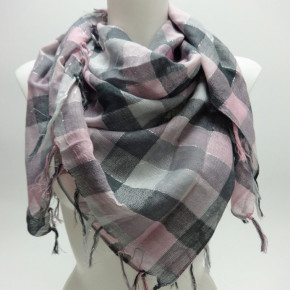 Square check-pattern scarf with fringes and lurex