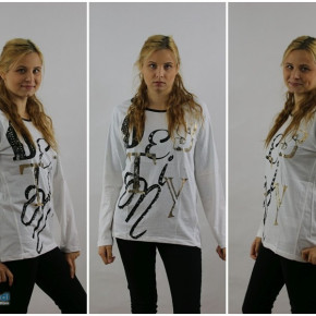 Blouse for women with the inscription and the jets