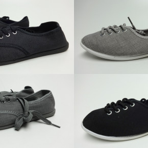 Black and grey sneaker shoes