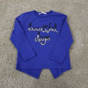 Blouse for girls with sequin inscription