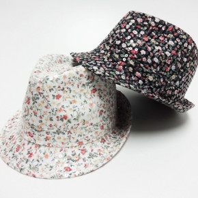 Black and white trilby hats with sequins
