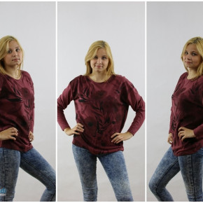 Maroon blouse with flowers
