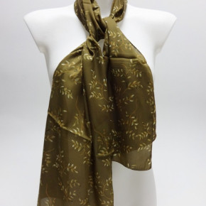 Green satin-look scarves with twig print