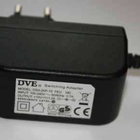 POWER PACK POWER ADAPTER 15V 1.2A 5.5/2.1 DC DVE