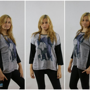 Blouse for women with a wolf