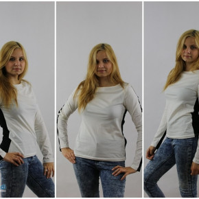 Slim two-color blouse
